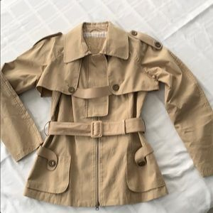 MACKAGE 2in1 short trench coat w/ leather details
